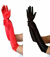 LADIES FANCY DRESS PROM WEDDING LONG BURLESQUE MOULIN ROUGE Black or red GLOVES