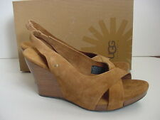 NIB NEW UGG Australia Hazel ll Wedge Sandal Chestnut Suede Shoe Women Sz 10