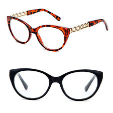 Women Cat Eye Fashion Reading Glasses Chain Link Temple Design Red Black