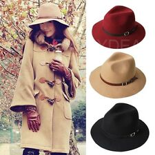 New Fashion Women Winter Warm Wool Belt Fedora Cap Wide Brim Cowboy Hat #F3