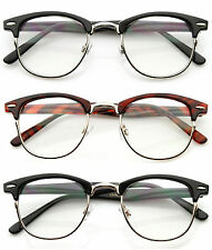 Optical Horned Rim Clear Lens Half Frame Club Master Glasses UV400 3 Colors