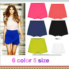WOMEN SKORTS ASYMMETRIC TIERED CULOTTES SHORT WITH INVISIBLE ZIPPER 6 colors
