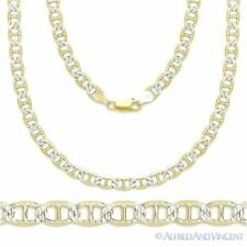Sterling Silver 14k Yellow Gold Marina Mariner Link 3.5mm Italian Chain Necklace