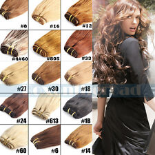Remy Brazilian Black Straight Human Hair Weaving Weft Extensions 100g 12 colors