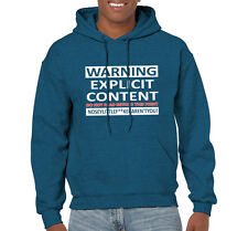 Mens Funny Sayimgs Slogans Hoodies Explicit Content On Gildan Hooded Sweatshirt
