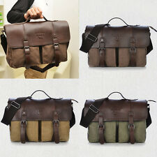 Vintage Men's Canvas+ Faux Leather Shoulder Messenger  Satchel School Bag AB191