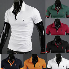 NEW 2015 Mens Slim Fit Stylish POLO Shirt Short Sleeve Casual T-shirts Tee Tops