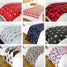 Soft Warm Cosy Adults Kids Single Fleece Over Blanket Bed Throw 8 DESIGNS