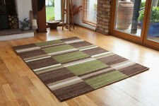 Modern Green Chocolate Brown Patchwork Style Mat Soft Funky Checked Pattern Rugs
