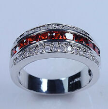 Sz 7-13 Jewelry Square Garnet 10KT White Gold Filled Band Ring Free Shipping