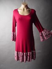 Burgundy Ethnic Floral Tattoo Design Bell Sleeve Jersey Knit 33 mv Dress M L XL