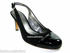 New Coach WEILING Black Suede Patent Leather Sling Back Pumps Shoes Heels $158