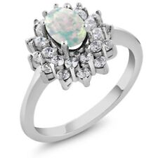 1.23 Ct Oval Cabouchon White Opal 14K White Gold Ring