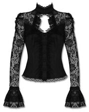 Banned Black Rose Lace Steampunk Victorian Gothic Isis Corset Shirt Blouse Top