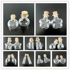 3pcs Glass Crystal Perfume Bottles Wishing Bottle Vial Necklace Charm Pendant