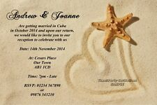 Personalised Beach Wedding Invitations Married Abroad Reception Hearts / Sand