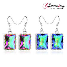 Special Price GIFT Rectangle Rainbow Mystical Topaz Gems Hook Earrings 1 1/2""