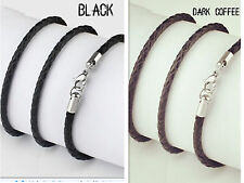 "3mm 14""-30"" Black Genuine Leather Cord Mens Necklace Twist Chain Stainless ste"