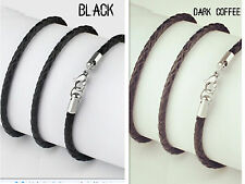 "Genuine Leather Cord 3mm 14""-30"" Black Mens Necklace Twist Chain Stainless ste"