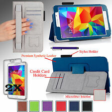 For Samsung Galaxy Tab4 7 Tablet T230 PU Leather Case Cover Stand w/ Hand Strap