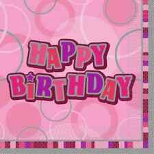 Birthday Glitz Paper Napkins Party Decorations - Choose Age & Colour From List