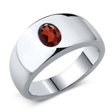 1.40 Ct Oval Natural Red VS Garnet 925 Sterling Silver Men's Ring Sizes 7 to 13