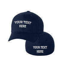 CUSTOM PERSONALIZED FLEXFIT Wooly Hat Cap Navy 2 Side Embroidery