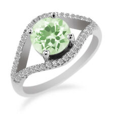 2.20 Ct Round Green Amethyst 925 Sterling Silver Ring