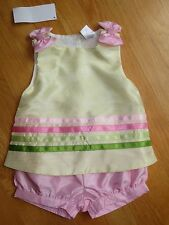 Toddler girl GYMBOREE SATIN YELLOW stripes top shirt & shorts outfit NWT 12m 18m