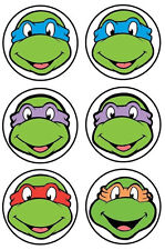 "2-3.5"" TMNT FACE NINJA TURTLES CHARACTER WALL SAFE STICKER BORDER CUT OUT"