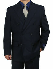 SHARP 2pc DOUBLE BREASTED DB MEN DRESS SUIT NAVY 36S-48L c6ta