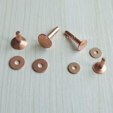 5 10 20 50 Solid Red Copper Rivets Burrs Permanent Fasteners Gauge Tack 9mm 12mm