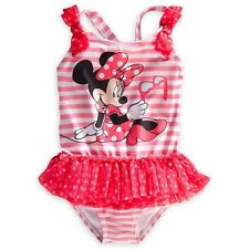 Disney Store Minnie Mouse 1 PC Deluxe Tutu Swimsuit Girl Size 5/6 7/8