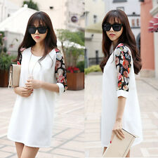 New 2014 Summer Pregnant Women White Chiffon Floral Print Maternity Dress