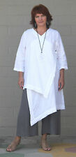 BRYN WALKER Linen Lagenlook  ZENA TUNIC Long Artsy Duster Top  S M L XL  WHITE