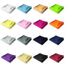 Fashion New Mens Satin Pocket Square Hankerchief Hanky Plain Solid Color