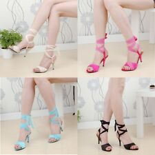 Sexy Women's Ankle Lace Up Strap Roman Kitten Heel Shoes Sandals Plus Size Party