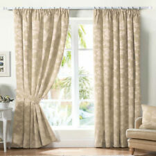 Natural Pale Beige Cream Taupe Lined Curtains Tape Top Lined 46 66 90 108 Pair