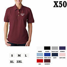 CUSTOM PERSONALIZED EMBROIDERED Maroon Red Cotton Women Polo Shirt Top Set of 5