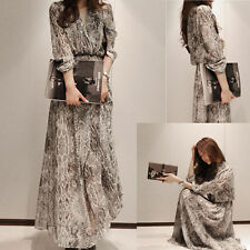 New Women Snake Floral Chiffon Cocktail Party Evening Casual Long Maxi Dress Hot