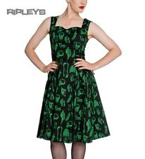 HELL BUNNY Gothic Lace Up ANATOMY 50s Dress Black/Green Skulls All Sizes