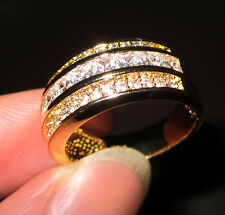 Size 8-12 Mens Deluxe Jewelry 10KT Yellow Gold Filled White Sapphire Band Ring