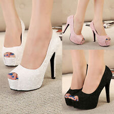 Womens Lace Mesh Vamp Platform Peep Toe Stiletto High Heels Pumps Evening Shoes