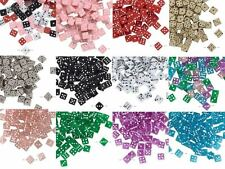 10 Plastic Acrylic 7mm Square Game Dice Beads with Number Dots True to Life