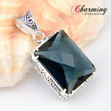 HUGE Amazing Trapezoid Vintage London Blue Topaz Gems Silver Necklace Pendant