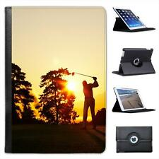 Silhouette of Golfer Swinging Club on Golf Course Leather Case For iPad Mini
