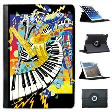 Jazz It Up With Keyboard Saxophone & Trumpets Folio Leather Case For iPad Mini