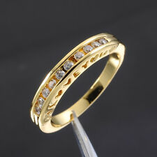 "Sz 6-9 Jewelry Ladys White Sapphire 10KT Yellow Gold Filled ""I LOVE YOU"" Ring"