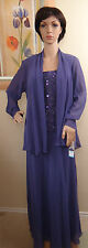 NWT Genuine PATRA lilac purple beaded long Dress & cardigan 2pc set,size 16, 10