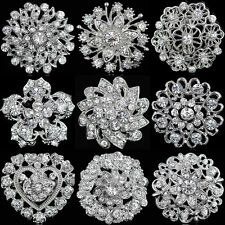 Wedding Bridal Party Round Bouquet Brooch Pin Clear Rhinestone Crystal Silver